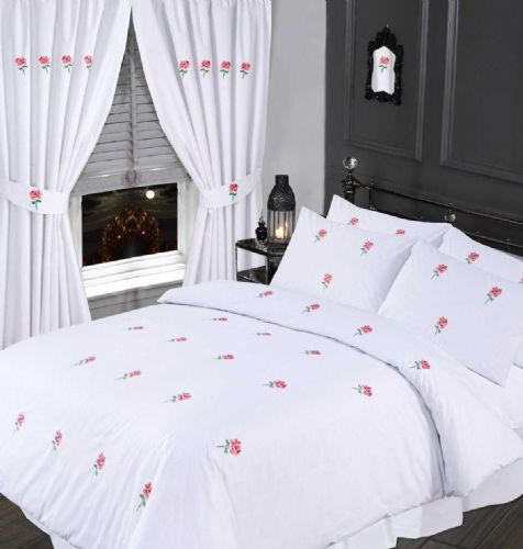 WHITE & PINK COLOUR STYLISH EMBROIDERED FLORAL DUVET COVER LUXURY BEAUTIFUL COTTON BEDDING